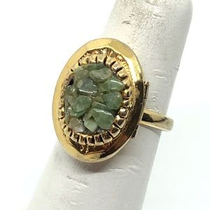 🆕Vintage Adjustable Jade Chip Locket Ring